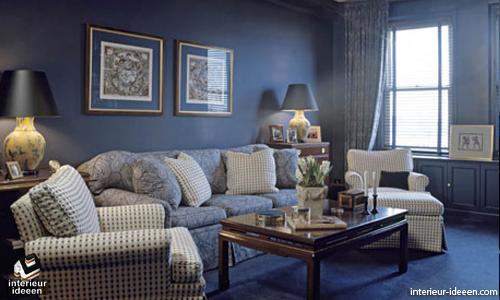 blauwe woonkamer - interieur ideeen, Deco ideeën