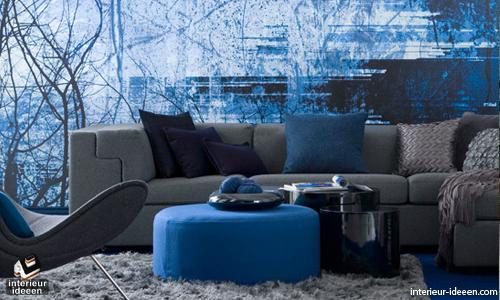 Woonkamer interieur muur - Blauwe turquoise decoratie ...