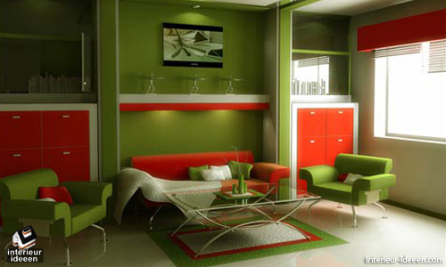 Kleuradvies Slaapkamer Groen : Orange and Green Living Room Design