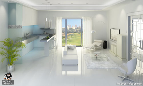 Witte woonkamer - Interieur ideeen