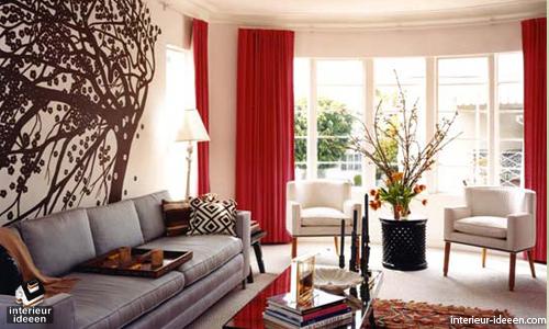 rode woonkamer voorbeelden, Deco ideeën