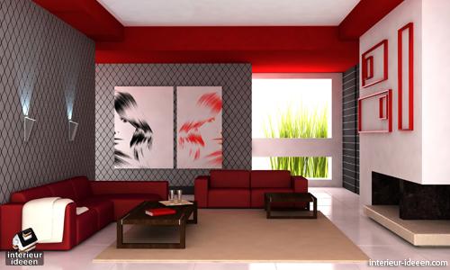 Rode woonkamer voorbeelden - Kleur rood ruimte ...