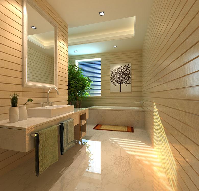 De verlichting doet het u2018m in deze modern ogende badkamer.