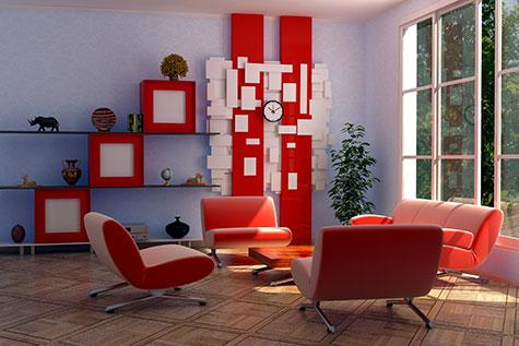 Moderne woonkamer voorbeelden inrichting en kleuren - Kleur rood ruimte ...