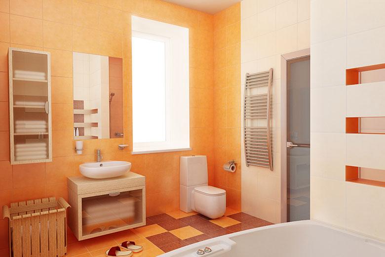 Badkamer voorbeelden modern for Peach colored bathroom ideas