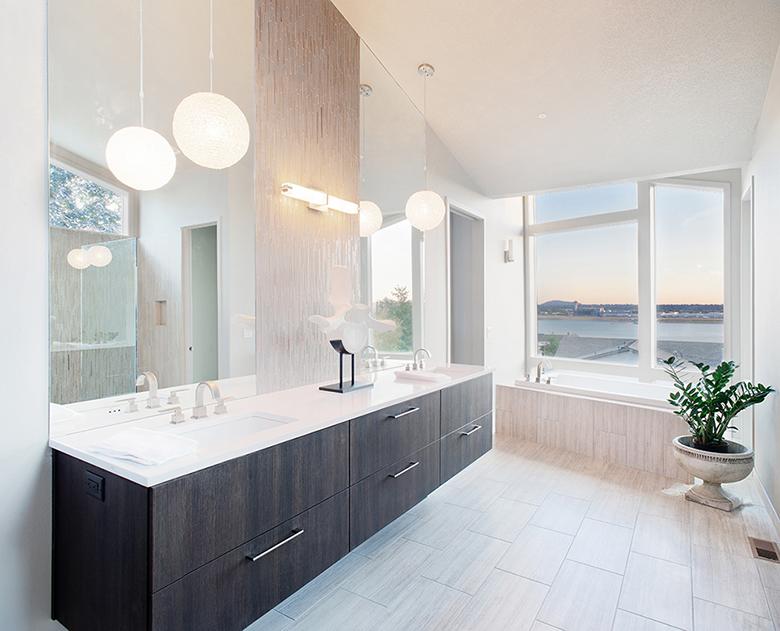 Badkamer voorbeelden zwart wit 22 badkamer foto 39 s for Suspension salle de bain design