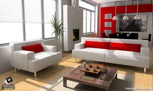 Woonkamer Ideeen Rood : Rode woonkamer voorbeelden