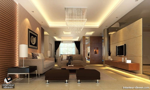 Bruine woonkamer interieur ideeen - Interieur inrichting moderne woonkamer ...