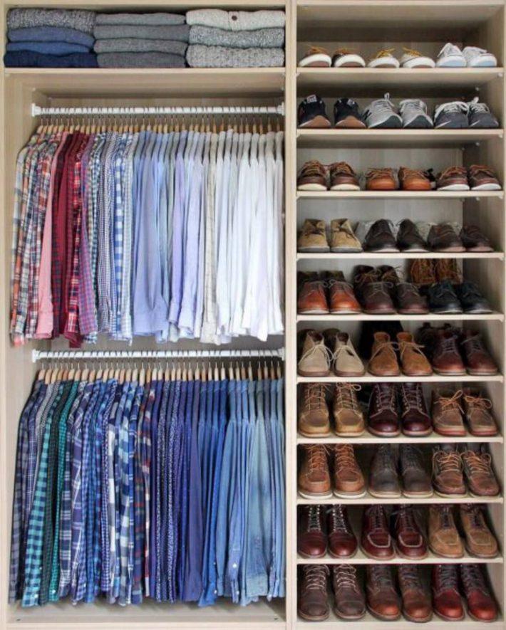 kledingkast schoenen op kleur