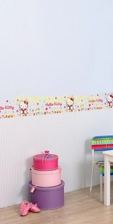 Kinderbehang met Hello Kitty behangrand
