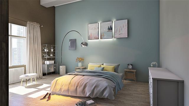 slaapkamer groenblauw