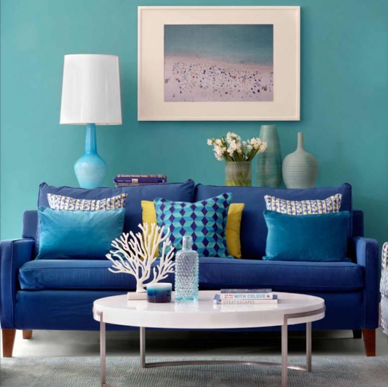 blauwe woonkamers