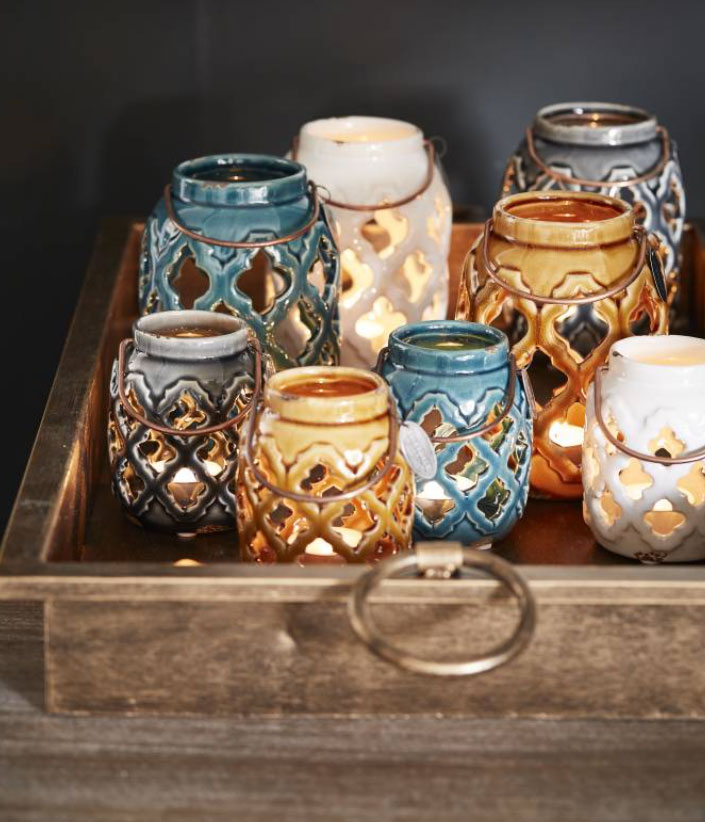 dienblad met kaarsen