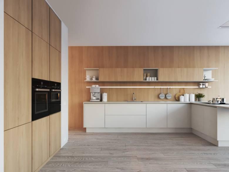 keuken houten wand