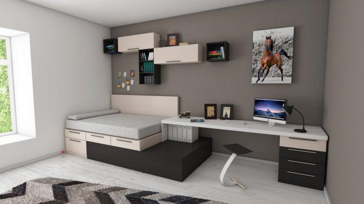 inrichting kleine slaapkamer bureau bed