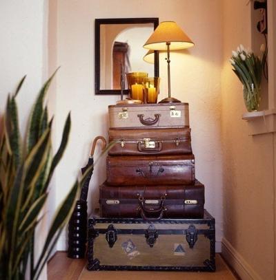 woonkamer idee oude koffers
